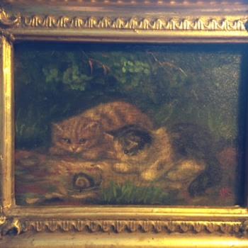 Early kittens with snail painting help identify period and artist please - Visual Art