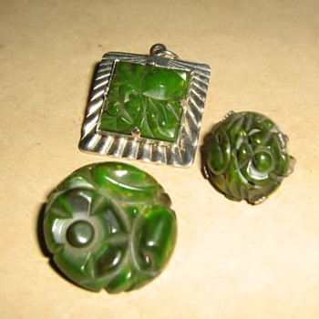 Spinach green Sanford bakelite items