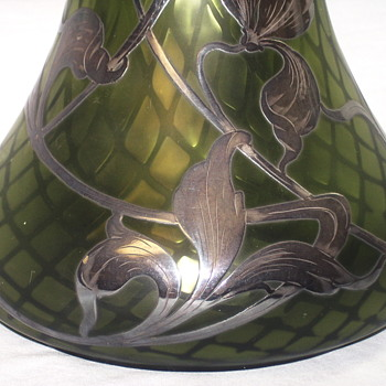 "Sterling Overlay Art Nouveau Att Steuben Pomona Satin Green Quilted Diamond""Circa 1910-20 - Art Glass"
