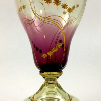 Harrach Gilt/enameled drinking glass, shaded purple to clear - Art Glass