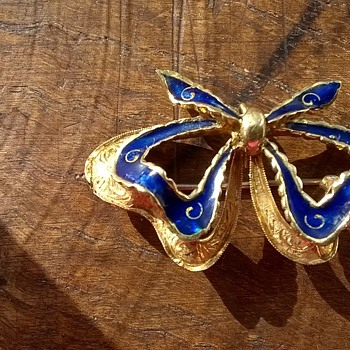 18K Gold & Enamel Ribbon Pendant Brooch Flea Market Find $4.00