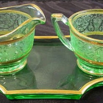 Uranium Glass Cream, Sugar & Tray, Maker, Pattern?
