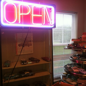 OPEN sign really brightens atmosphere in one of my toy rooms