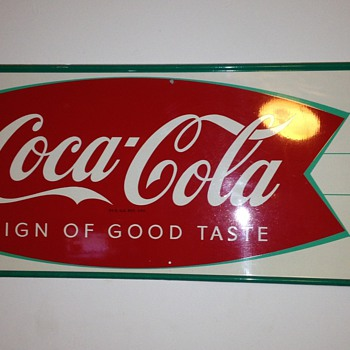 Nice Coca Cola fishtail small sign. - Coca-Cola