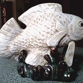 Impressive Large Carp Figurine / Unknown Maker or Age - Figurines