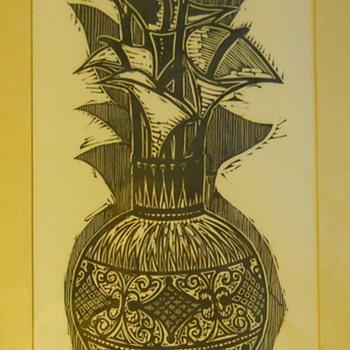 """Woodcut Print, Flowers(Calla)""""Bohdan Borzemsky""""Circa 1968"""