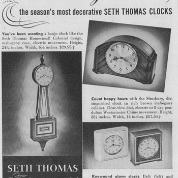 1950 Seth Thomas Clocks Advertisements