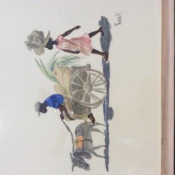 Mule pulling paddlers wagon - Visual Art