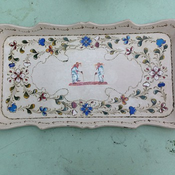 Hand Painted Wooden Tray - Folk Art