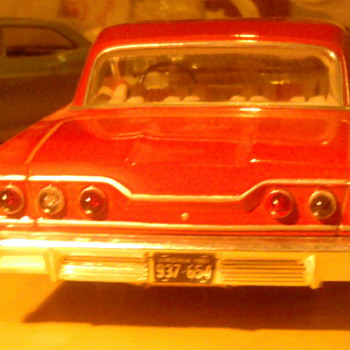 Screw Bottom '63 Impala built model.  Looks real...because I didn't build it. - Model Cars
