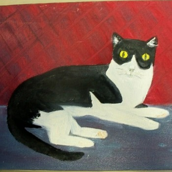 Primitive Cat Painting     Date Unknown.  Artist signed:  Fels