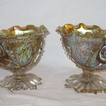 Loetz Conch Shell Vases Candia Papillion ca.1896 - Art Glass