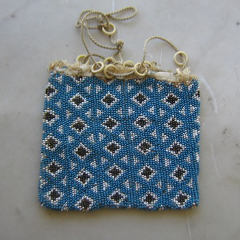 Old unfinished beaded bag