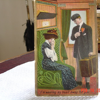 105 Year Old Valentine Postcard, I'm Wearing My Heart Away For You - Postcards