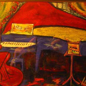 Original Joe Lamanno Impressionist Pastel Painting Cello & Piano on Stage - Visual Art