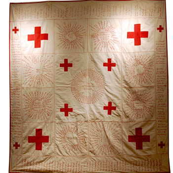Red Cross Signature Quilt - 1917 Dorcus S.S. - Folk Art