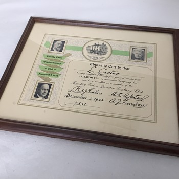 The T. EATON Co Limited,  Quarter Century Club Certificate