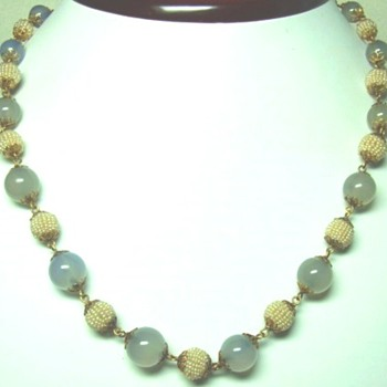 Chalcedony and Seed Pearl Necklace
