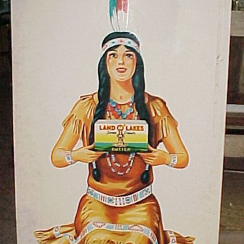1930s Land of Lakes Butter Indian Maiden Large Tin Advertising Sign - Advertising