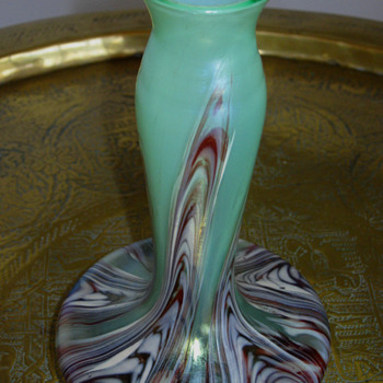 KRALIK FEATHERED - MARBLED VASE - Art Nouveau