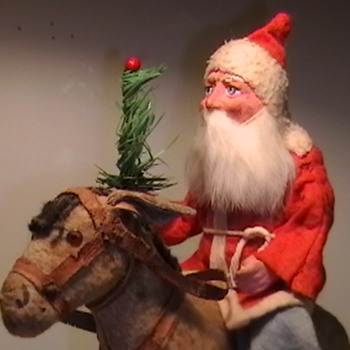 1920's Santa Riding a Donkey Pull Toy - Christmas