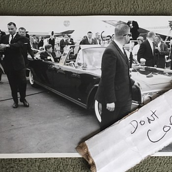Vintage Original JFK Kennedy Presidential Limo Leaving Airport Photo - Advertising