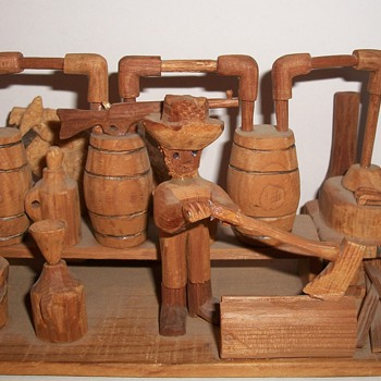 Moonshiner Wood Carved Tableaux Folk Art collection Jim Linderman