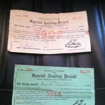 Old Canadian Fishing Licenses - Fishing