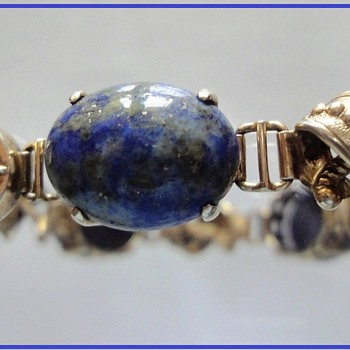 Chinese Silver Plated Cabochon Lapis Lazuli Bracelet