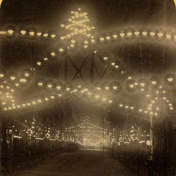 St. Paul Ice Carnival Stereoview #2 (Illumination of Third Street), 1888