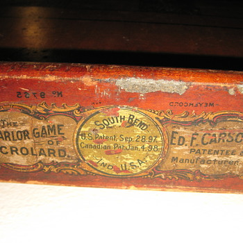 THE PARLOR GAME OF CROLARD ED.F. CARSON  US. PATENT SEP28,1897 NO.9765 - Games