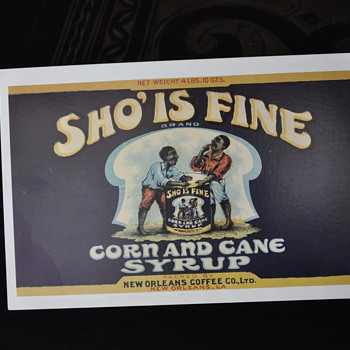 G2 LTD Co. postcard from New Orleans, La Sho's fine Corn and Cane Syrop.