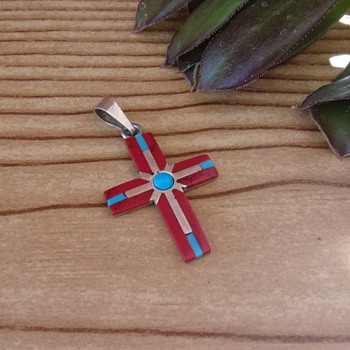 1979 Taxco Mexico Inlay Coral, Turquoise and Silver Cross Pendant