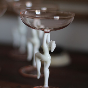 Art Deco Nude Cocktail Glasses - Glassware