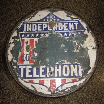 Independent Telephone Porcelain Top Advertisment Stool