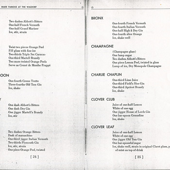 Some Recipes From the 100 Famous Cocktail Book 1939 Waldorf-Astoria NY