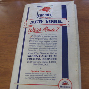 Mobil Gas (Socony Vacuum) Vintage (1936) NEW YORK map - Petroliana