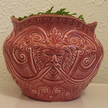 English 1884 ceramic lion/gargoyle jardiniere - Art Pottery