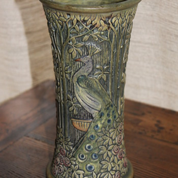 Weller Peacock Vase - Art Pottery