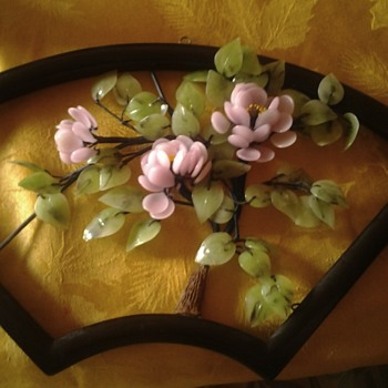 Glass dogwood tree wall plaque - Asian