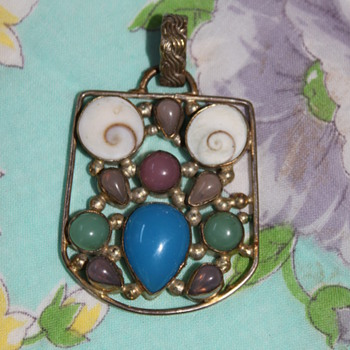Silver Pendant with Gems and Shells Part II - Fine Jewelry