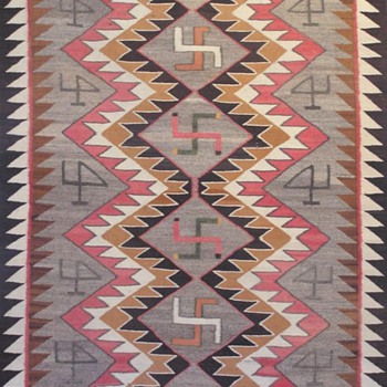 Navajo Rug (whirling logs) with Original Tag (1905)