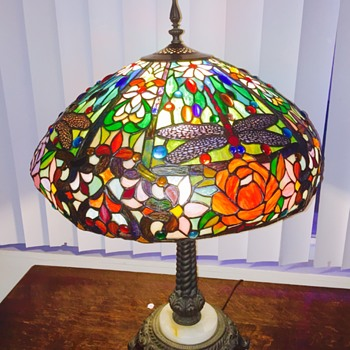 Vintage Antique? Tiffany Style Dragonfly Stained Glass Lampshade & Marble Lamp Stand