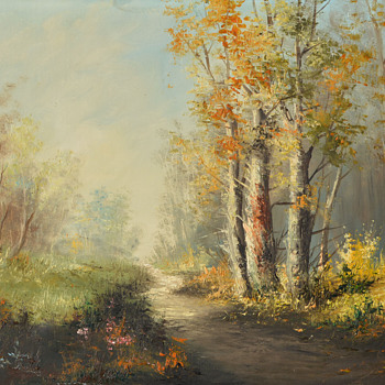 Oil on Canvas-Path through Woods--Part 1 - Visual Art