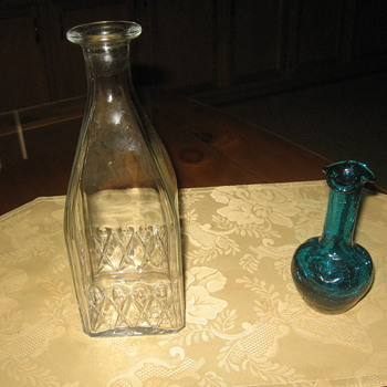 SCOTCH BOTTLE & LITTLE BLUE VASE - Bottles