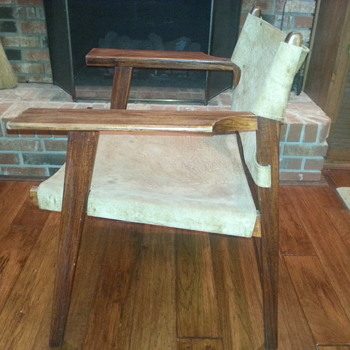 HELP! COOL CHAIR W/ ANIMAL HIDE AND BUCKLES UNUSUAL - Furniture