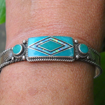 Sterling turquoise and opal cuff