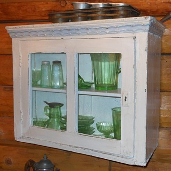 Wall Hanging Cabinet with Green Depression Glass