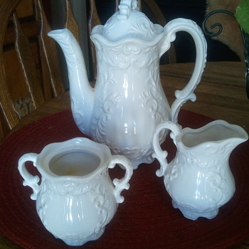 Just a few, Corn Maiden by Jack Black, Tea set that amazes me, Oatmeal Vase to touch, Pitcher & Bowl all need a name - Pottery