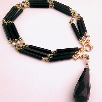 Victorian/Edwardian 14k onyx & pearl bracelet.